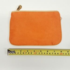 Hilary London Suede clutch makeup purse  ORANGE